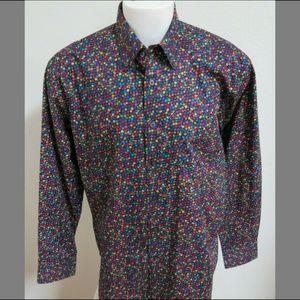 New L Polka Dot Swirl Alan Flusser Men #66V Shirt